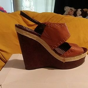Jessica simpson wedge, new, brown sizes 10 and 7.